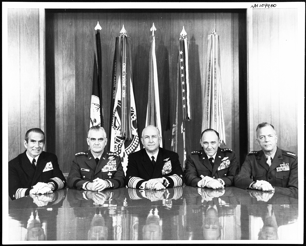 The Joint Chiefs of Staff during the Moorer years: JCS Chairman Admiral Thomas Moorer, flanked to left by Army Chief of Staff General William Westmoreland and Chief of Naval Operations Admiral Elmo R. Zumwalt, Jr., and to the right by Air Force Chief of Staff General John Ryan and Marine Corps Commandant General Leonard F. Chapman, Jr. (copy from Naval History and Heritage Command)