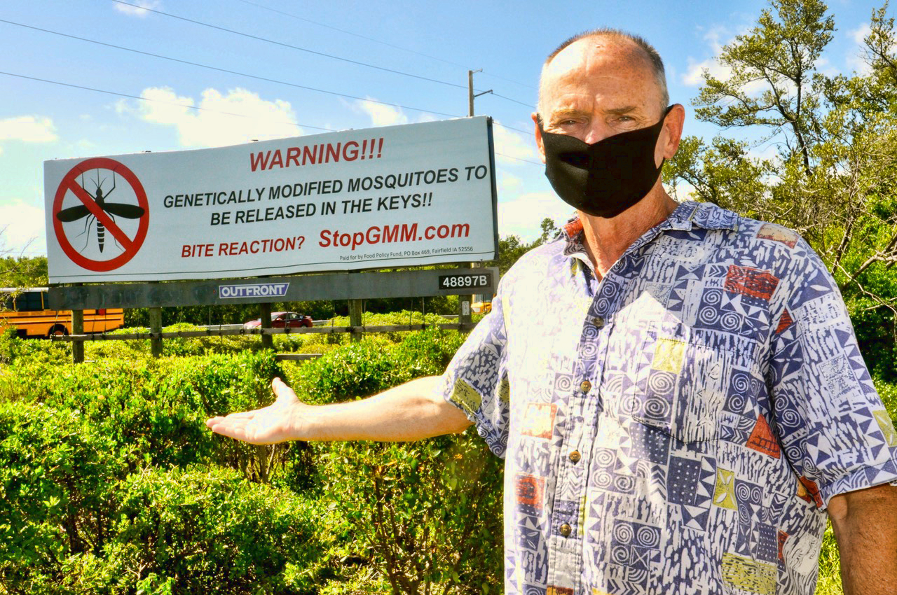 GMO Mosquito Billboard Florida Keys with Bill Wray - Photo by Jack Groves