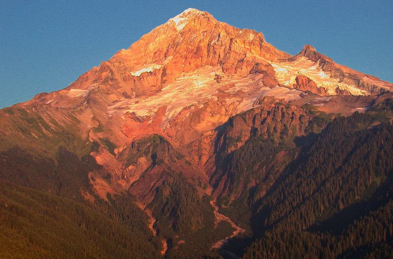 Image of the Sandy Glacier at sunset, Mt. Hood