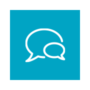 Icon of two speech bubbles.
